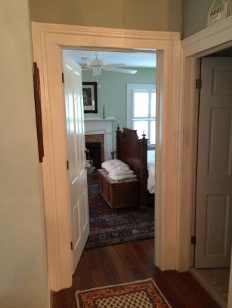 The Colonels: Upstairs hall - room #2 (Antebellum room) with shared bath on right