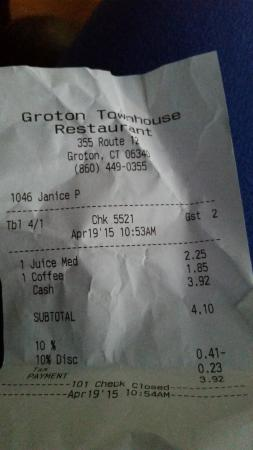 Groton Townhouse Restaurant: Our order before walking out