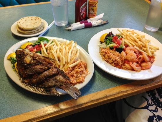 Fried tilapia and garlic shrimp - delicious!