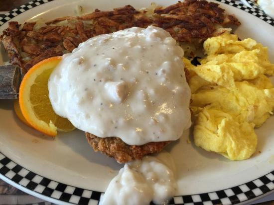 Black Bear Diner: Chicken Fried Steak With Hashbrowns and Scrambled Eggs
