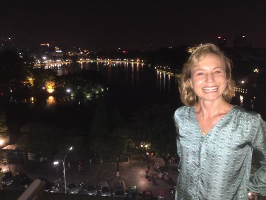 Enjoying hanoi in my beautiful new silk Metiseko shirt.