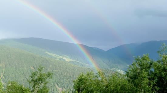 Maranza, Italien: Ausblick v. Balkon ( Regenbogen )