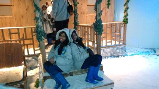 Snow World Mumbai: my wife with her friend