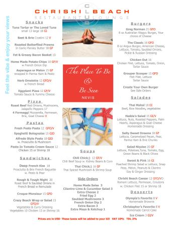 Chrishi Beach Club: Menu