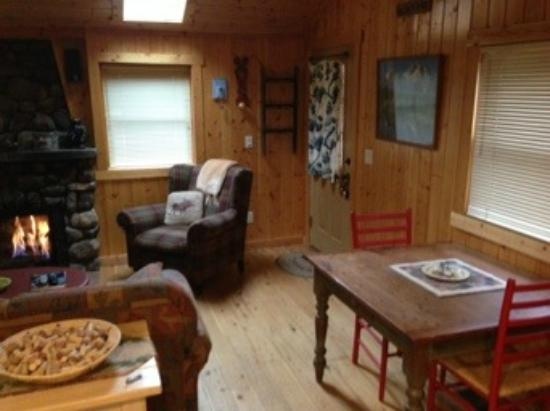 Knotty or Nice Cabin: Living room with dining table