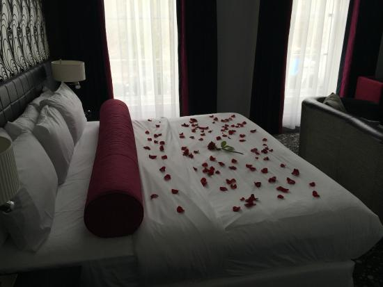 Hampton Hotel: Room 300; Rose & Rose petals on the bed