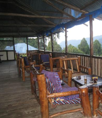 Bwindi Backpackers Lodge: the restaurant and the bwindi forest view