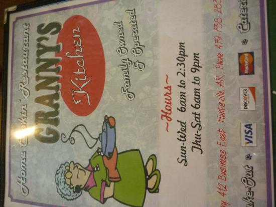 Menu Cover - Picture of Grannys Kitchen, Huntsville - TripAdvisor