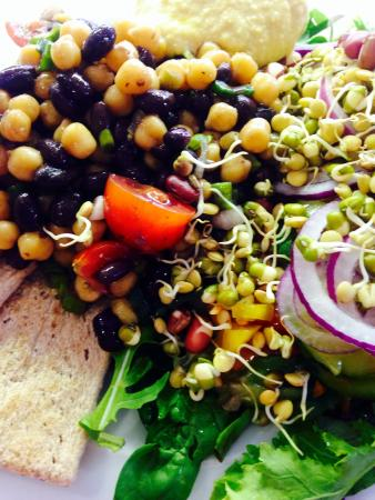 The Bastion Kitchen: Middle Eastern Chickpea and Black Bean Salad with buckwheat crackers, homemade hummus, fresh sal