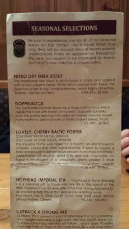 Bend Brewing Co: Beer menu