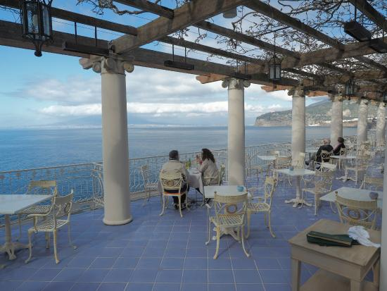Bellevue Syrene: View from La Pergola of cloud-covered Mt. Vesuvius and of - View From La Pergola Of Cloud-covered Mt. Vesuvius And Of Sorrento
