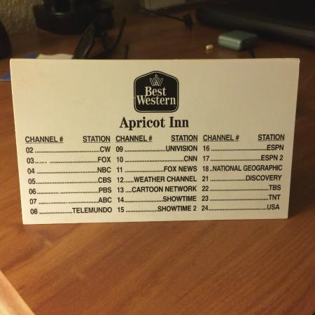 BEST WESTERN Apricot Inn: Channel Line up