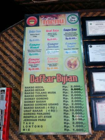 daftar menu di Bakso Presiden Malang