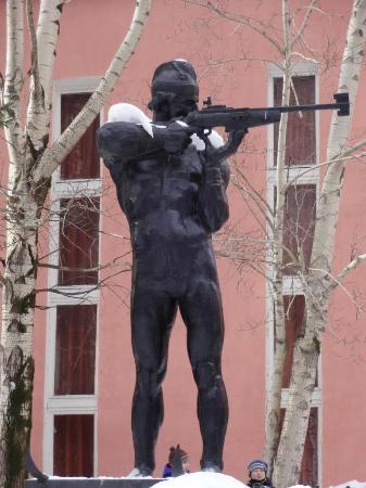 Monument to Biathlonist