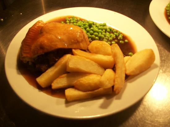 Rainton, UK: Steak and Ale pie  and homemade chips