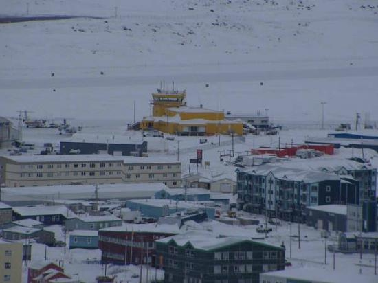 Baffin Island: Iqaluit, note unique yellow airport terminal building