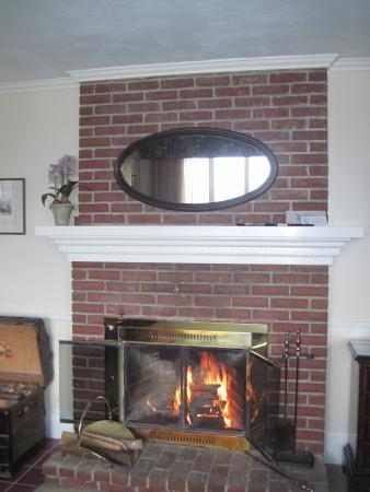 The Sparhawk Oceanfront Resort: Fireplace was so welcome on our rainy visit
