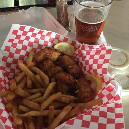 Sand Bar and Grill: 5 piece Halibut & Chips with an Alaskan Hop Thermia