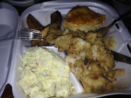 Island Spice Restaurant & Bar: (counter clockwise fr. bottom left)Potato Salad, Conch Fritters, Macaroni & Cheese, Sweet Planta