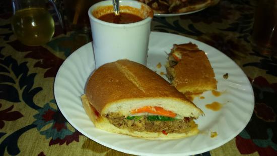 C ST. BISTRO: Southeast Asian Bahn Mi pork sandwich with tomato soup