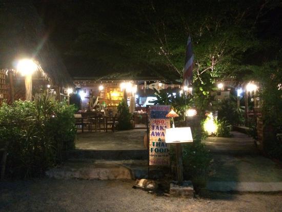 Tathata Thai Food & Pizzeria: From the road (pm)