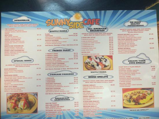 Sunnyside Cafe Melbourne Beach Fl Menu