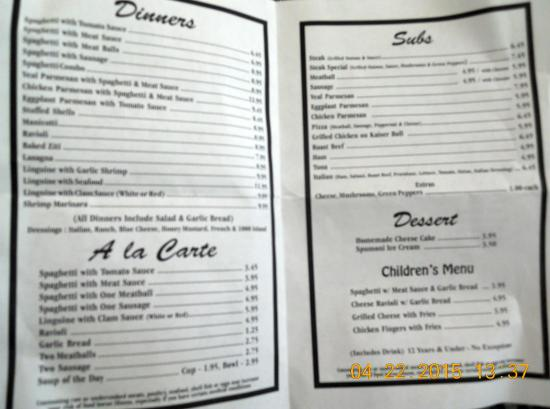inside pages of menu picture of heidi s italian restaurant