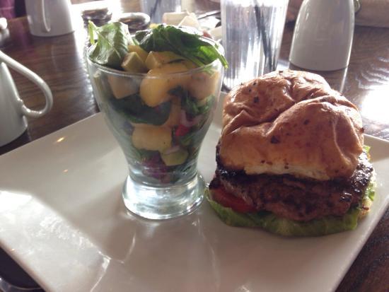 Harvest Cafe: Bison burger with avocado fruit salad