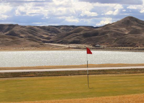 Kyle, Canada: hole 10 view of Sask Landing Prov Park and Lake Diefenbaker