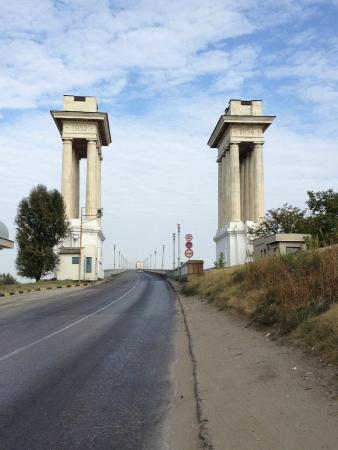 Giurgiu, Rumänien: Auffahrt zur Brücke auf der Bulgarischen Seite