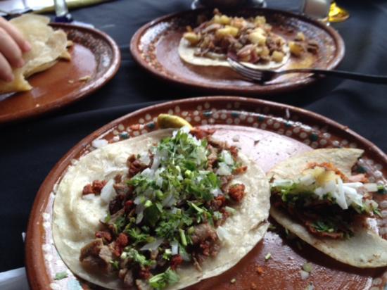 Pepes tacos and terrace: Quesadilla Hawianno & Tacos Al Pastor con pina
