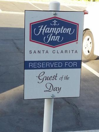 "Hampton Inn Los Angeles/Santa Clarita: Our ""personalized"" parking spot."