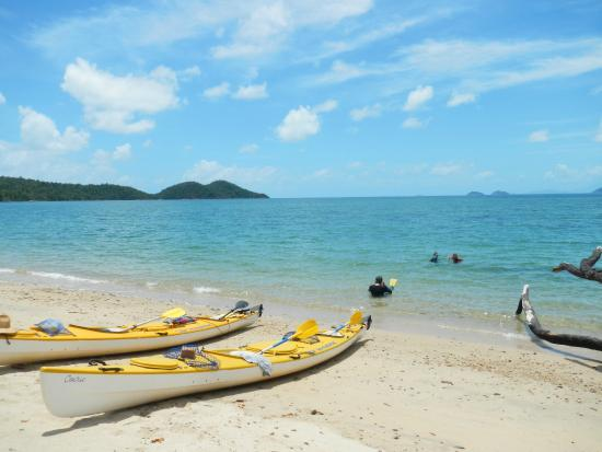 Coral Sea Kayaking: Coconut Beach, Dunk Island, heading out for a morning snorkel