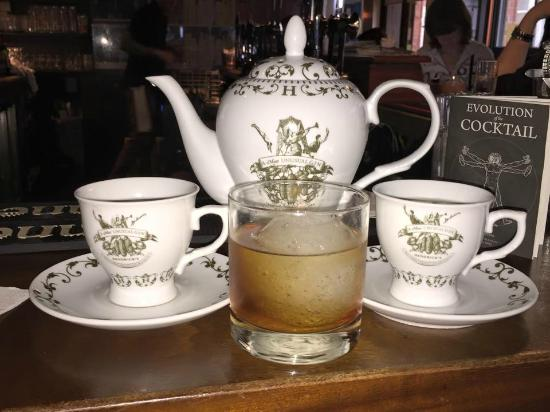 The Exchequer: Hendrick's High Tea and Smokey Old Fashioned