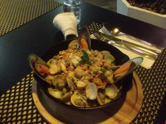 Baan pla Rawai Bouillabaisse : Seafood spaghetti - with variations at no expense or trouble.