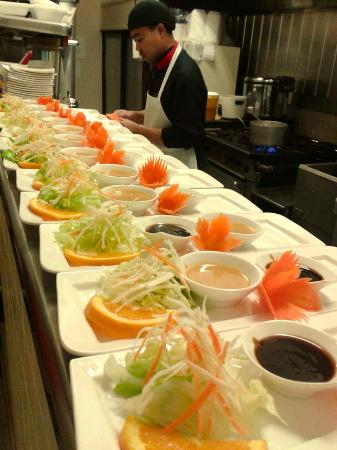 Chaba Thai : Appetizers lined up at the pass window for a large group