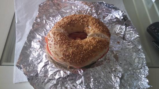 Empire Bagel Factory : garlic bagel with lox