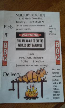 Menu Front Picture Of Muller BBQ Kitchen Palm City TripAdvisor