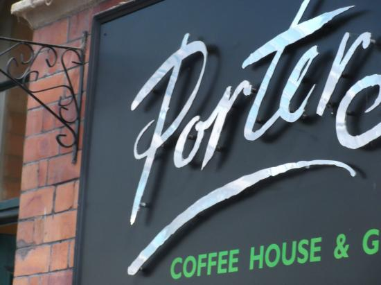 Porters Coffee House: Sign outside the coffee house