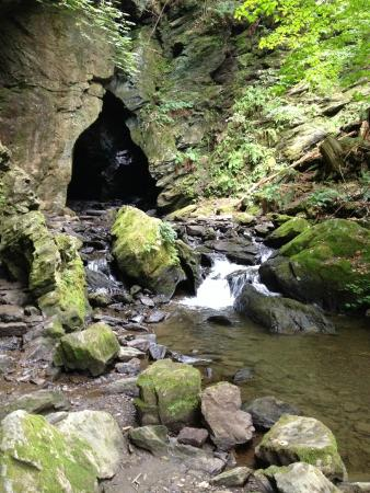 Dover Plains, NY: Face of the Stone Church -  (low water in mid-summer)
