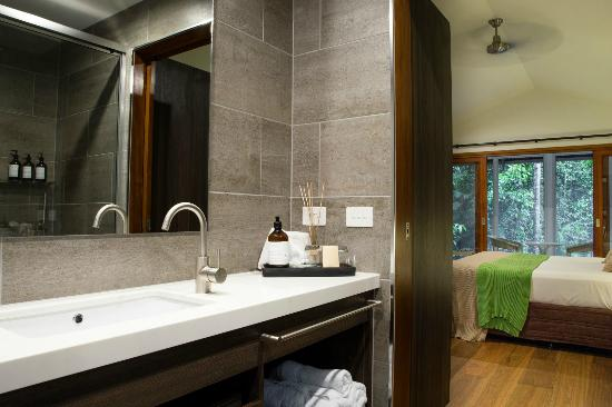 generous and luxuriously appinted new bathrooms in the canopy bayans at  daintree EcoLodge & Spa