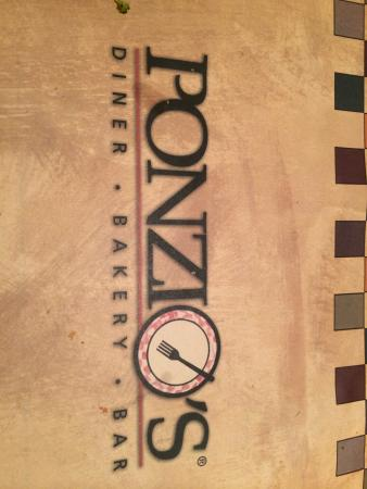 Ponzio's Diner-Bakery-Bar: Placemat