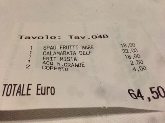 Receipt picture of ristorante bagni delfino sorrento tripadvisor