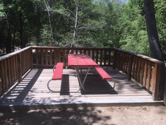 Camp James Campground: Deck outside cabin