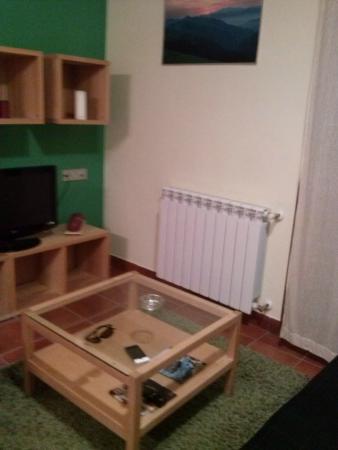 Agroturismo Kortazar : Salón, televisión frente a sofá.