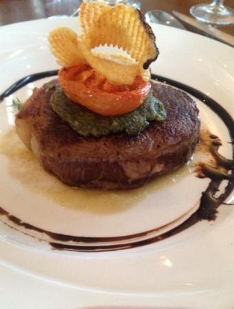 Bay Hotel: Sirloin Steak with herb crust, celeriac puree, grilled ...