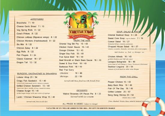 Food menu picture of turtle time beach bar grill for Food bar menu