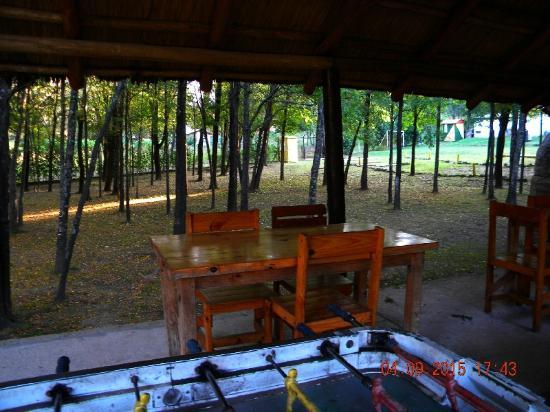 Bosque Encantado Cabanas: Desde el quincho; en primer plano, Metegol