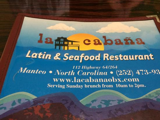 La Cabana Restaurant : The menu
