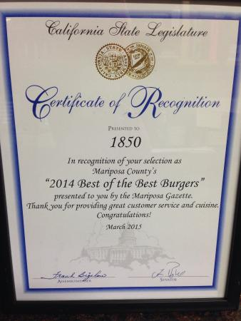 1850 was voted the best burger in town!!!!!